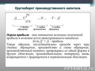 Кругооборот производственного капитала Рс Д Т … П … Т' - Д' Сп 1 стадия 2 стадия