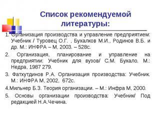 Список рекомендуемой литературы: 1. Организация производства и управление предпр