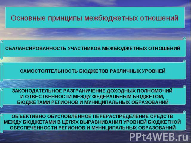 Основные принципы межбюджетных отношений СБАЛАНСИРОВАННОСТЬ УЧАСТНИКОВ МЕЖБЮДЖЕТНЫХ ОТНОШЕНИЙ САМОСТОЯТЕЛЬНОСТЬ БЮДЖЕТОВ РАЗЛИЧНЫХ УРОВНЕЙ ЗАКОНОДАТЕЛЬНОЕ РАЗГРАНИЧЕНИЕ ДОХОДНЫХ ПОЛНОМОЧИЙ И ОТВЕСТВЕННОСТИ МЕЖДУ ФЕДЕРАЛЬНЫМ БЮДЖЕТОМ, БЮДЖЕТАМИ РЕГИО…