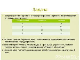 Задача Затраты рабочего времени (в часах) в Украине и Германии на производство е