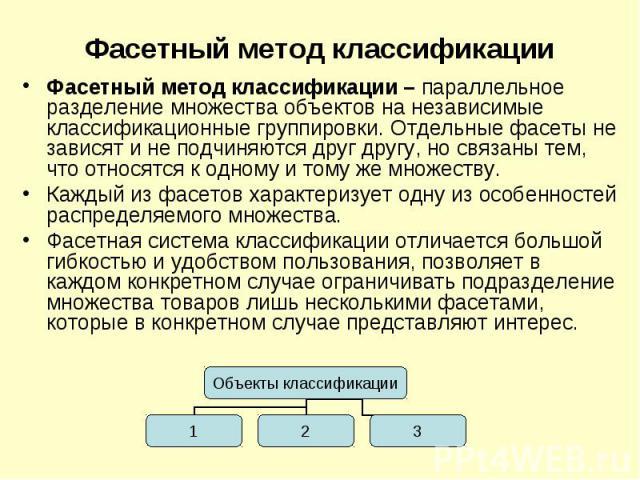 Фасетный метод классификации – параллельное разделение множества объектов на независимые классификационные группировки. Отдельные фасеты не зависят и не подчиняются друг другу, но связаны тем, что относятся к одному и тому же множеству.Каждый из фас…