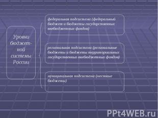 Уровни бюджет-ной системы России федеральная подсистема (федеральный бюджет и бю