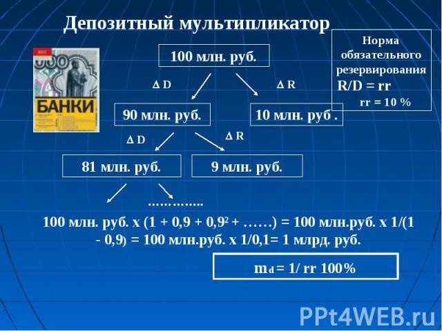 Норма обязательного резервирования R/D = rr rr = 10 % Депозитный мультипликатор 100 млн. руб. х (1 + 0,9 + 0,9² + ……) = 100 млн.руб. х 1/(1 - 0,9) = 100 млн.руб. х 1/0,1= 1 млрд. руб.