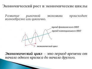 Экономический рост и экономические циклы Развитие рыночной экономики происходит