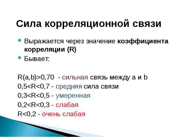 Сила корреляционной связи Выражается через значение коэффициента корреляции (R)Бывает:R(а,b)>0,70 - сильная связь между a и b0,5