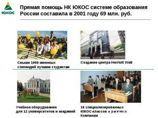 Прямая помощь НК ЮКОС системе образования России составила в 2001 году 69 млн. р