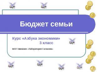 Бюджет семьи Курс «Азбука экономики»3 классМОУ гимназия «Лаборатория Салахова»
