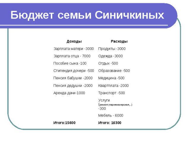 Бюджет семьи Синичкиных