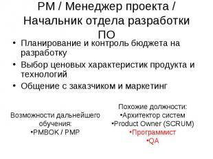 PM / Менеджер проекта / Начальник отдела разработки ПО Планирование и контроль б