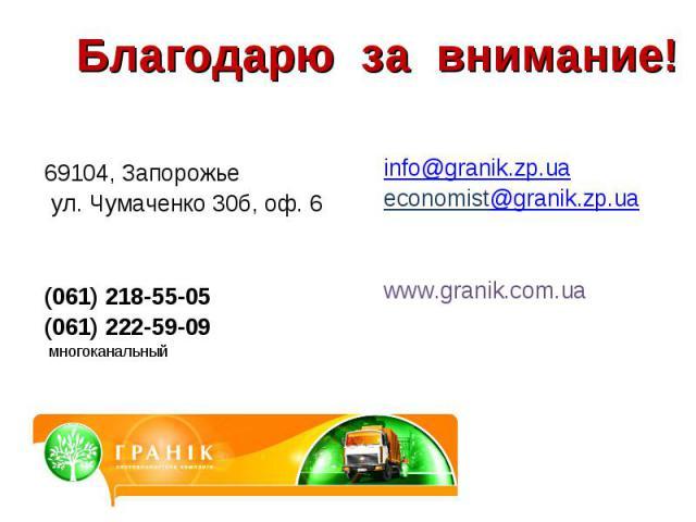 Благодарю за внимание! 69104, Запорожье ул. Чумаченко 30б, оф. 6(061) 218-55-05(061) 222-59-09 многоканальный info@granik.zp.uaeconomist@granik.zp.uawww.granik.com.ua