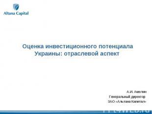 Оценка инвестиционного потенциала Украины: отраслевой аспект А.И. АмелинГенераль