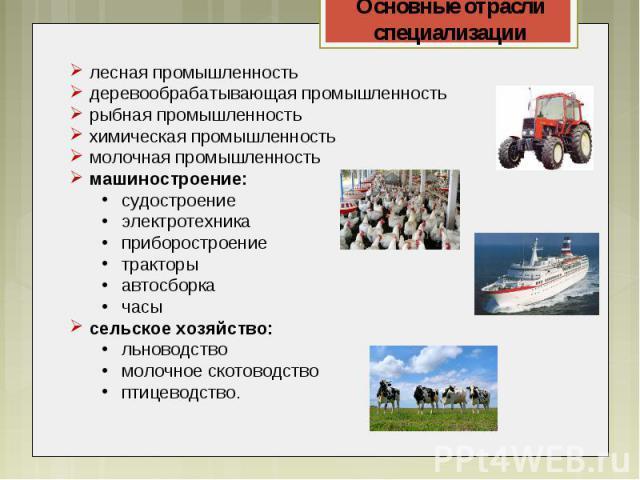 лесная промышленностьдеревообрабатывающая промышленностьрыбная промышленностьхимическая промышленностьмолочная промышленностьмашиностроение:судостроениеэлектротехникаприборостроениетракторыавтосборкачасысельское хозяйство:льноводствомолочное скотово…
