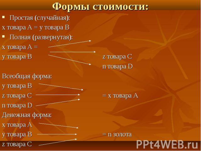 Формы стоимости: Простая (случайная):х товара А = у товара ВПолная (развернутая):х товара А =у товара Вz товара Сn товара DВсеобщая форма:у товара Вz товара С= х товара А n товара DДенежная форма:х товара Ау товара В= n золотаz товара С