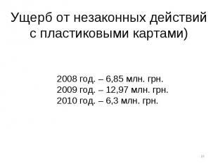 Ущерб от незаконных действий с пластиковыми картами) 2008 год. – 6,85 млн. грн.2