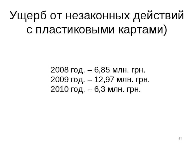 Ущерб от незаконных действий с пластиковыми картами) 2008 год. – 6,85 млн. грн.2009 год. – 12,97 млн. грн.2010 год. – 6,3 млн. грн.