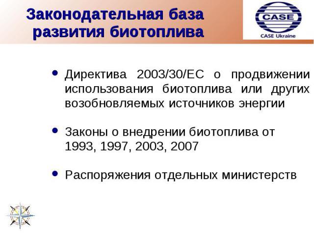 Законодательная база развития биотоплива Директива 2003/30/EC о продвижении использования биотоплива или других возобновляемых источников энергииЗаконы о внедрении биотоплива от 1993, 1997, 2003, 2007Распоряжения отдельных министерств