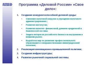 Программа «Деловой России» «Свое дело»: Создание конкурентоспособной деловой сре