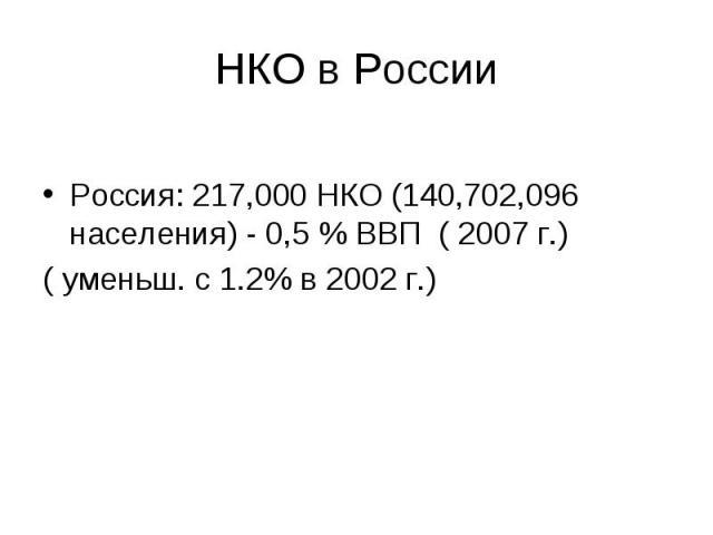 Россия: 217,000 НКО (140,702,096 населения) - 0,5 % ВВП ( 2007 г.)( уменьш. с 1.2% в 2002 г.)
