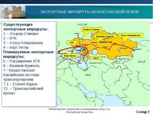 ЭКСПОРТНЫЕ МАРШРУТЫ КАЗАХСТАНСКОЙ НЕФТИ Существующие экспортные маршруты:1 – Аты