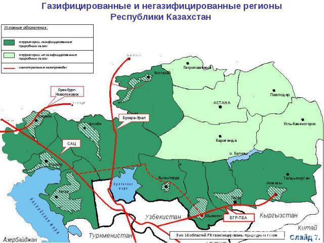 Газифицированные и негазифицированные регионыРеспублики Казахстан