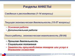 Сведения о респондентах (1-14 вопросы)Текущая экономическая деятельность (15-57