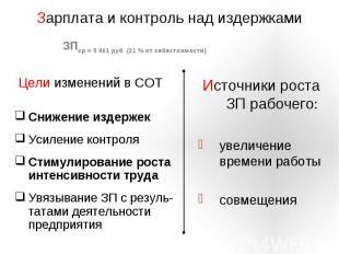 Зарплата и контроль над издержками ЗПср = 5 061 руб (21 % от себестоимости) Цели