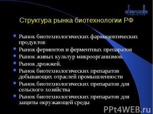Структура рынка биотехнологии РФ Рынок биотехнологических фармацевтических проду