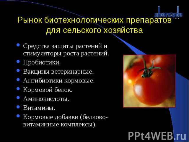 Рынок биотехнологических препаратов для сельского хозяйства Средства защиты растений и стимуляторы роста растений.Пробиотики.Вакцины ветеринарные.Антибиотики кормовые.Кормовой белок.Аминокислоты. Витамины.Кормовые добавки (белково-витаминные комплексы).