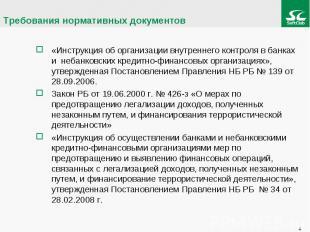«Инструкция об организации внутреннего контроля в банках и небанковских кредитно
