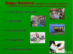 Виды бизнеса (различаются способами организации, собственностью на используемые