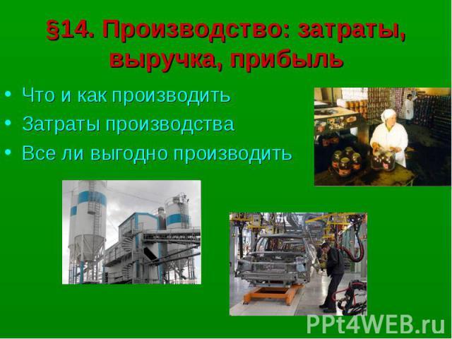 §14. Производство: затраты, выручка, прибыльЧто и как производитьЗатраты производстваВсе ли выгодно производить