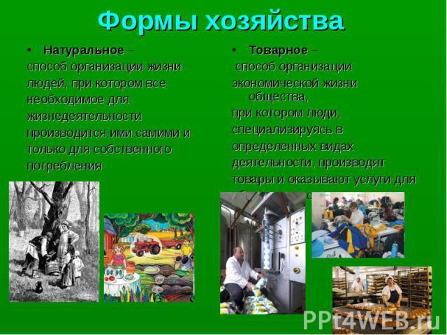 Формы хозяйства Натуральное – способ организации жизни людей, при котором все необходимое для жизнедеятельности производится ими самими и только для собственного потребления Товарное – способ организации экономической жизни общества, при котором люд…