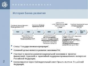 """История Банка развития •Статус """"Государственная корпорация"""";•Основной целью явля"""