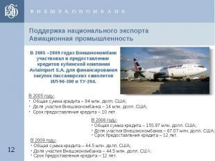 Поддержка национального экспортаАвиационная промышленность В 2005 –2009 годах Вн