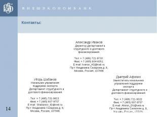 Контакты: Александр Иванов Директор Департамента структурного и долгового финанс