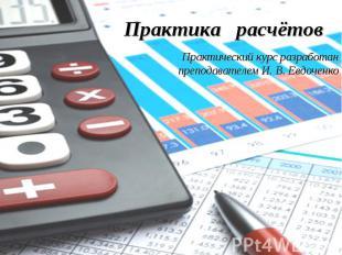 Практика расчётовПрактический курс разработан преподавателем И. В. Евдоченко