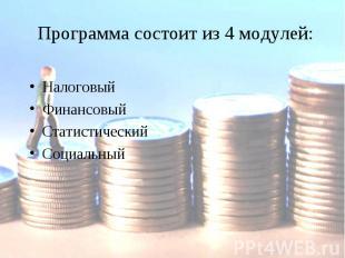 Программа состоит из 4 модулей:Налоговый ФинансовыйСтатистическийСоциальный