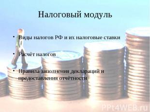 Налоговый модульВиды налогов РФ и их налоговые ставкиРасчёт налоговПравила запол