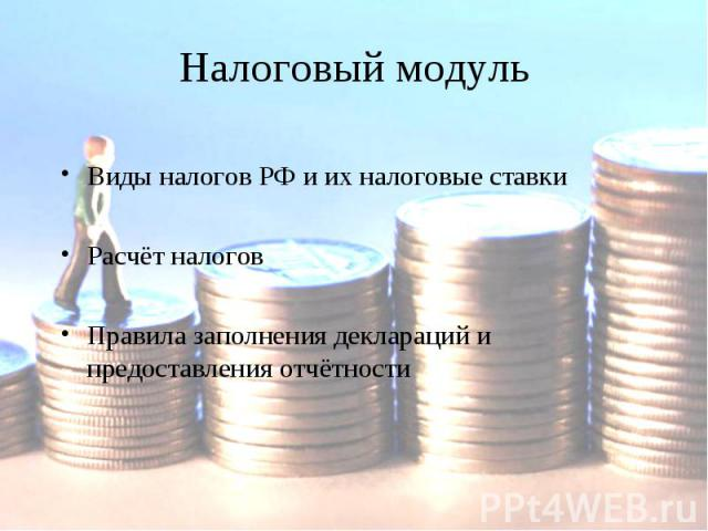 Налоговый модульВиды налогов РФ и их налоговые ставкиРасчёт налоговПравила заполнения деклараций и предоставления отчётности