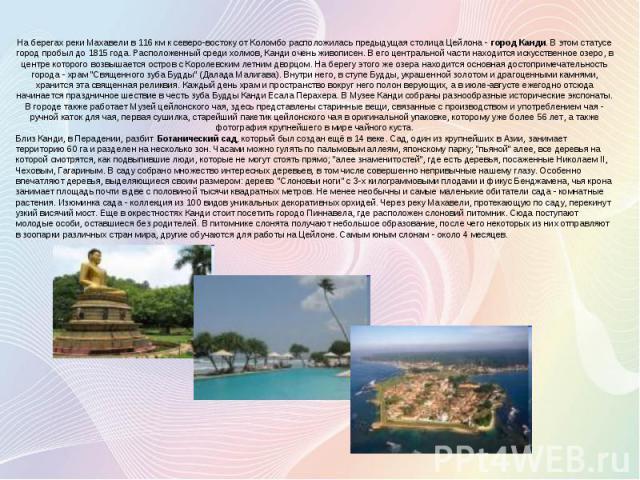 На берегах реки Махавели в 116 км к северо-востоку от Коломбо расположилась предыдущая столица Цейлона - город Канди. В этом статусе город пробыл до 1815 года. Расположенный среди холмов, Канди очень живописен. В его центральной части находится иску…