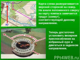 Карта-схема разворачивается верхней стороной на север. На шкале положенного свер