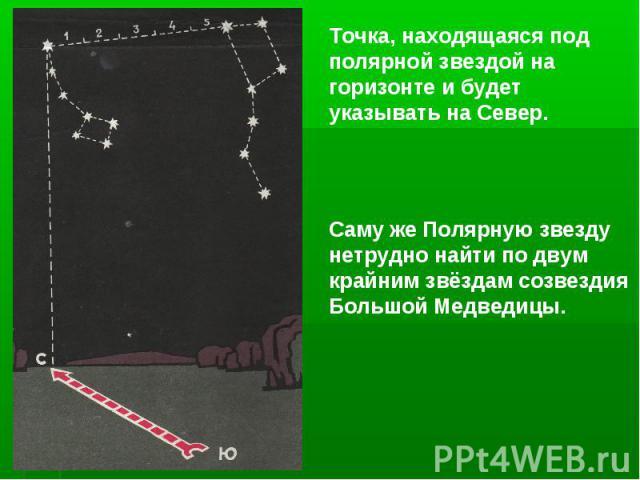 Точка, находящаяся под полярной звездой на горизонте и будет указывать на Север.Саму же Полярную звезду нетрудно найти по двум крайним звёздам созвездия Большой Медведицы.