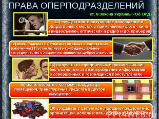 ПРАВА ОПЕРПОДРАЗДЕЛЕНИЙ 11) осуществлять визуальное наблюдение в общественных ме