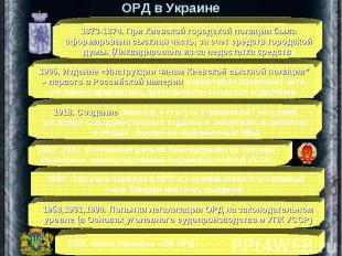 ОРД в Украине 1873-1874. При Киевской городской полиции была сформирована сыскна