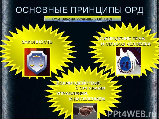 ОСНОВНЫЕ ПРИНЦИПЫ ОРД Ст.4 Закона Украины «Об ОРД» ЗАКОННОСТЬ СОБЛЮДЕНИЕ ПРАВ И СВОБОД ЧЕЛОВЕКА ВЗАИМОДЕЙСТВИЕ С ОРГАНАМИ УПРАВЛЕНИЯ, И НАСЕЛЕНИЕМ