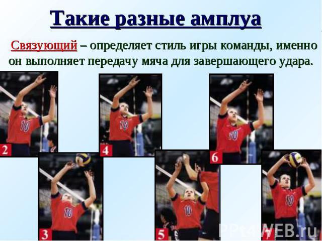 Такие разные амплуа Связующий – определяет стиль игры команды, именно он выполняет передачу мяча для завершающего удара.