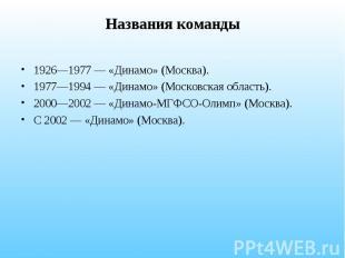 Названия команды 1926—1977 — «Динамо» (Москва). 1977—1994 — «Динамо» (Московская