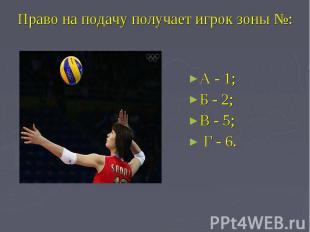 Право на подачу получает игрок зоны №: А - 1; Б - 2;В - 5; Г - 6.