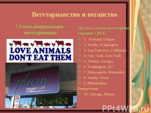 Вегетарианство и веганство 7,3 млн.американцев – вегетарианцы Десятка самых веге