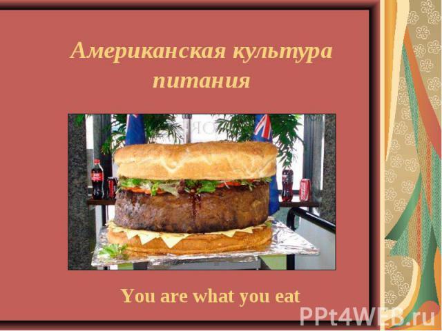 Американская культура питания You are what you eat